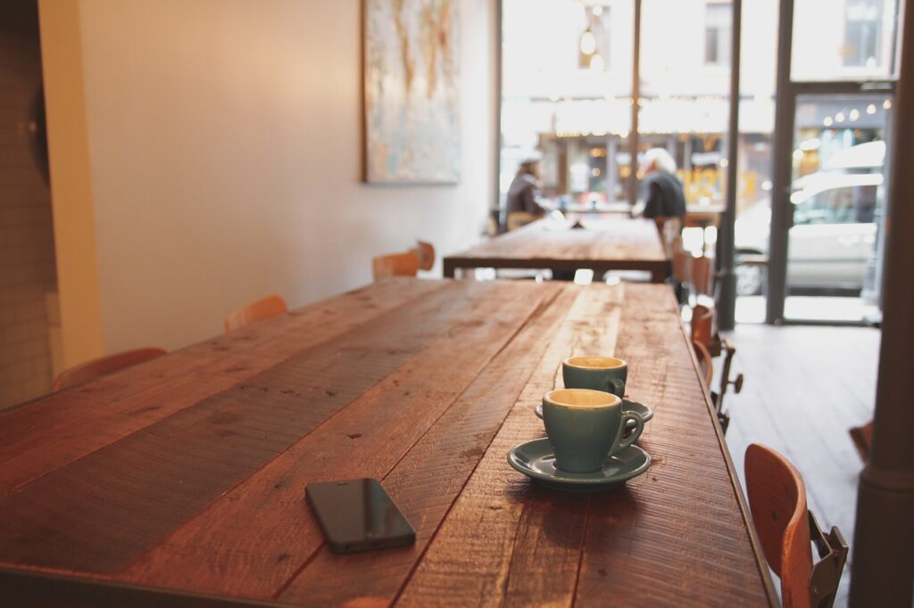 coffee, table, wood